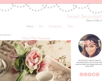 Pink Blogger Template - Vintage Flower Blog Template - Mobile Responsive Blogger Template