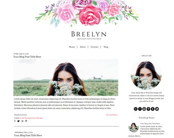 Feminine Blogger Template -  Flower Blog Template - Watercolor Blogger Template - Responsive Blogger Template- Instant Download