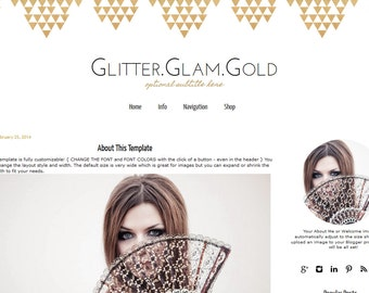 Blogger Template -  Black & Gold Blog Template - Premade Blogger Template - Mobile Responsive Blogger Template - Aztec Design