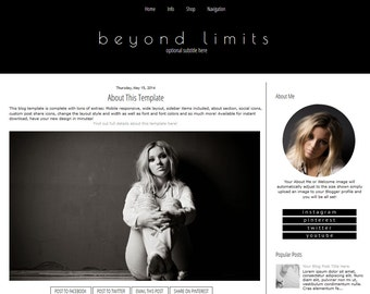 Blogger Template - Modern Blogger Template - Black and White -  Mobile Responsive Blogger Template - Beyond Limits
