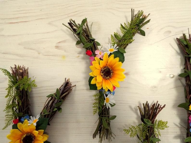 Nursury wall decor Sunflower letters Rustic letter ...