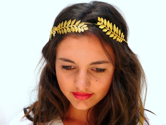Grecian headband Golden leaf crown Gold olive leaves  d1fbe6eaf57