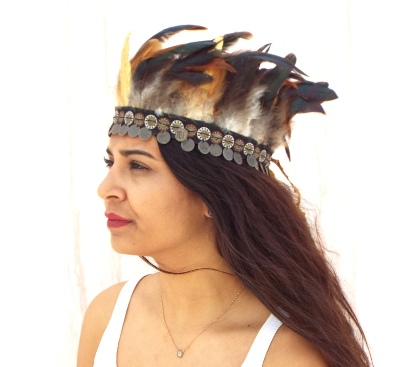 Bohemian Feather headband Native american Boho headband  d5603f68d01