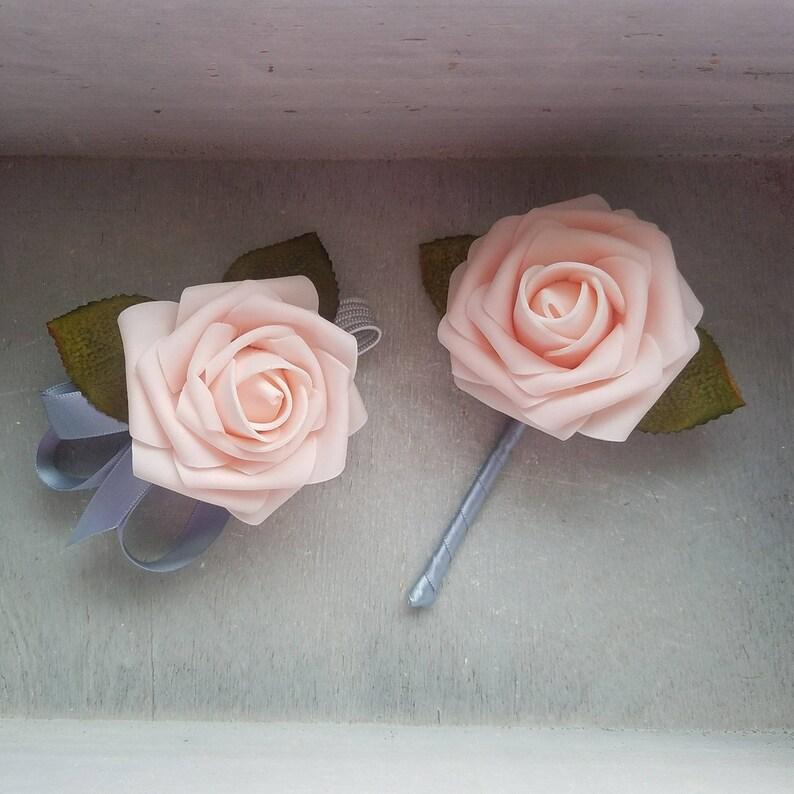 blush homecoming set blush corsage and blue boutonniere blush prom corsage Blush rose and dusty blue corsage and boutonniere set