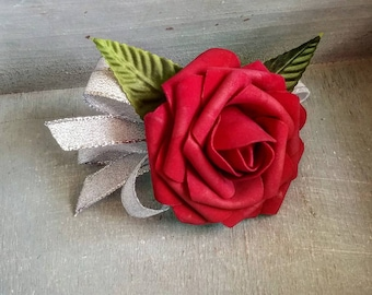 Silver and red rose Wedding corsage, wedding corsage, red wedding corsage, affordable wedding corsage, silver wedding corsage, red rose