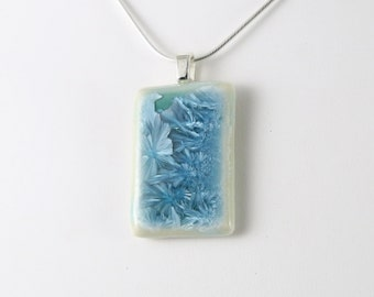 Crystalline Necklace Ice Blue on Teal Turquoise Frozen Crystals Rectangle Geometric Pendant