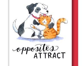 Opposites Attract Cat Dog Hugging Valentine Love Card