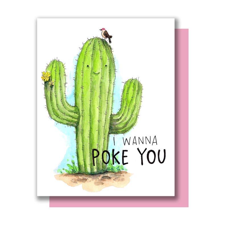 I Wanna Poke You Saguaro Cactus Valentine Love Card