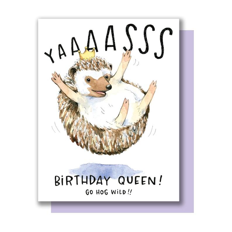 Yaaasss Birthday Queen Happy Birthday Hedgehog Hog Wild Card image 0