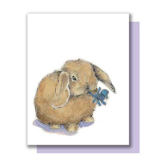Partij Bunny Hangoor Konijn Happy Birthday Congrats Kaart Etsy