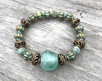 Sea foam Bronze Stretch Bracelet