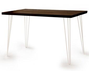 Bureau avec les jambes en tube noir en bois solid wood table etsy