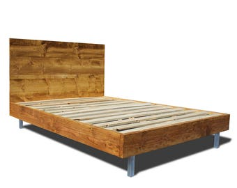 Platform Bed Frame And Headboard Set With Metal Legs   Modern Bed Frame    Modern And Rustic Platform Bed Frame   Modern Metal Bed Frame