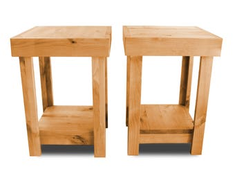 Rustic Reclaimed Wood Style Nightstand Pair End Table Simple Farmhouse