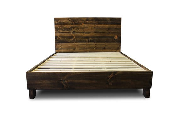 Rustic Solid Wood Platform Bed Frame & Headboard Reclaimed | Etsy