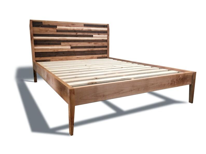 Mid Century Modern Platform Bed Frame And Headboard Etsy
