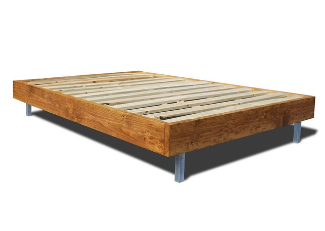 Platform Bed Frame with Metal Legs / modern and rustic bed /   Etsy