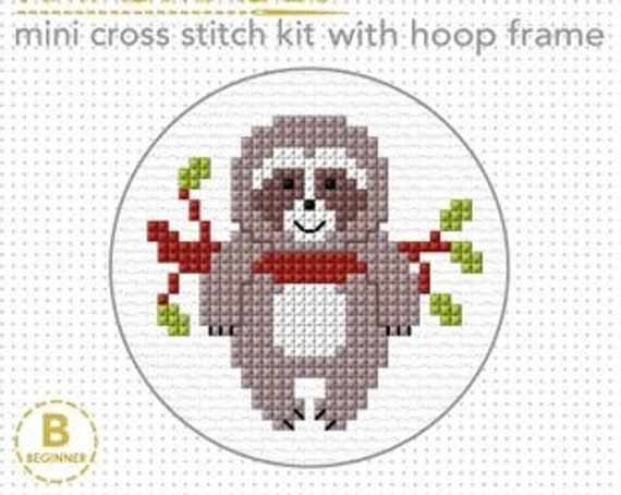 Cross Stitch Starter Kit with Hoop - Sloth