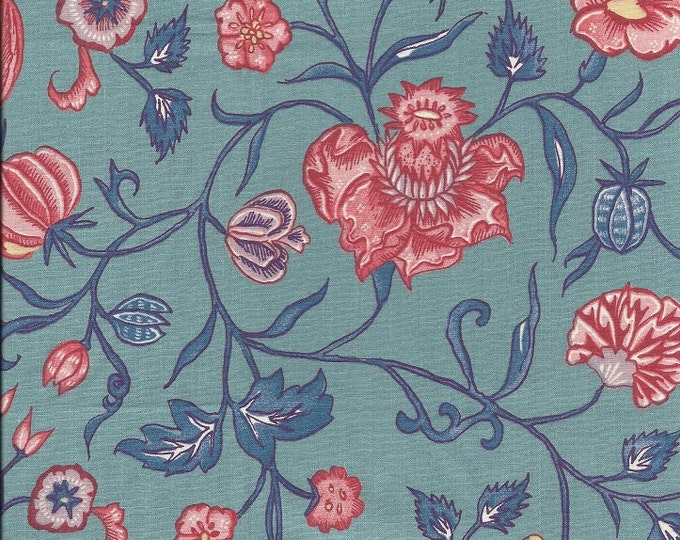 Dutch Chintz - Wilhelmina Grey Green Red 1/2yd