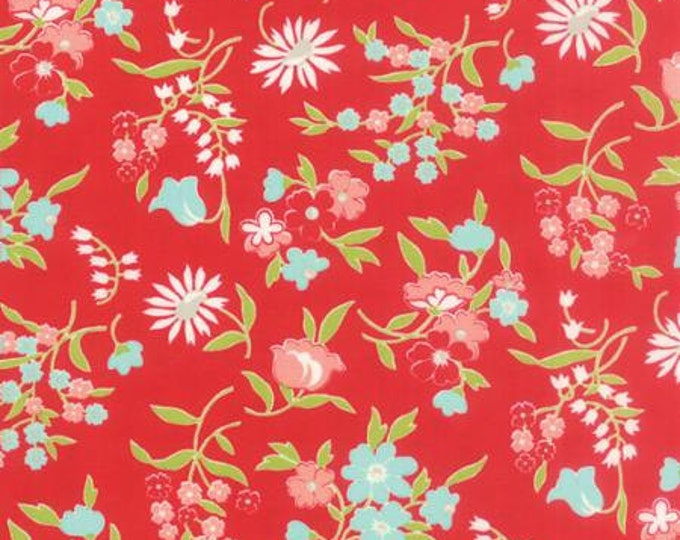 Vintage Picnic Floral Playful Red - 1/2yd