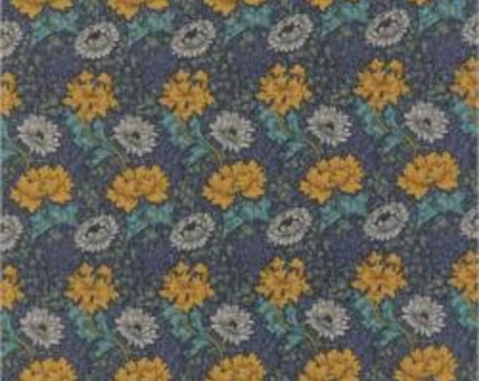 Morris Earthly Paradise Chrysanthemum Blue - 1/2yd