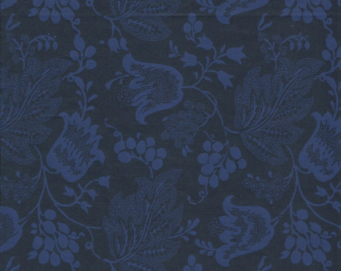 Dutch Chintz - Dark Blue - Ton sur Ton 1/2 yd