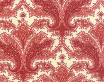 Polka Dots and Paisleys Flourish Ivory Red - 1/2yd