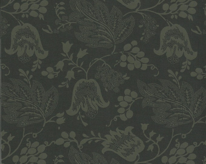Dutch Chintz - Licorice / Green Black - Ton sur Ton 1/2 yd