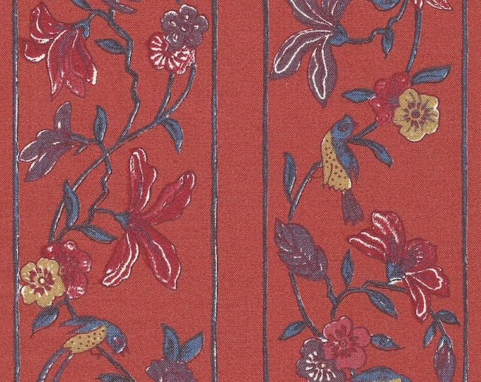 Dutch Chintz Border Fabric - Flowers from Paradise - Pale Red - half (1/2) yard