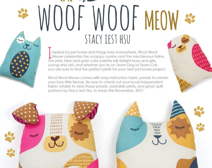 Woof Woof Meow - Fabric Panel for Stuffed Cuddlies - Kitty only
