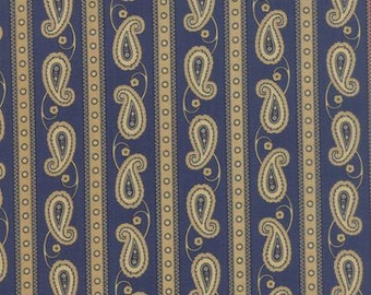 Polka Dots and Paisleys Paisley Stripe Blue - 1/2yd