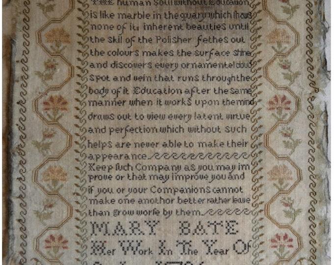 Mary Bate 1796 - Shakespeare's Peddler - Cross Stitch Chart