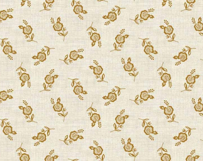 Greys Court Scattered Flowers Gold - 1 yd