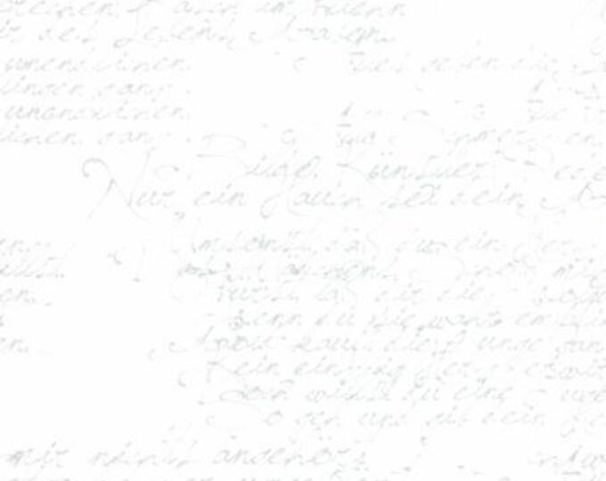 Modern BG Paper Handwriting Silver White - 1/2yd