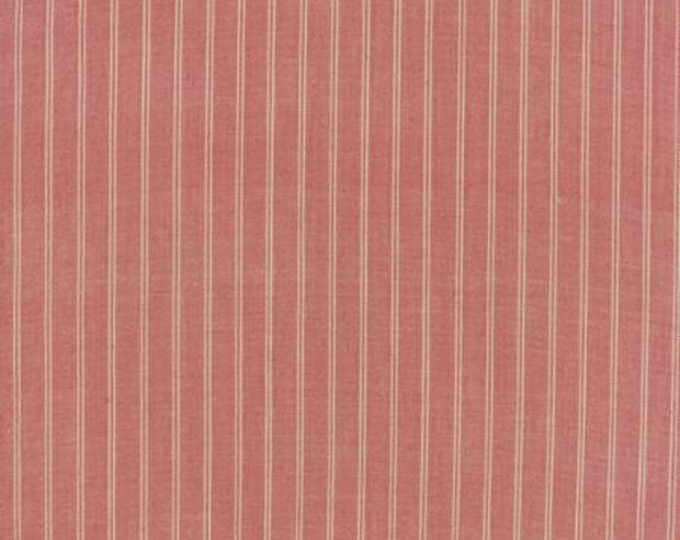 Petite Woven Silky Cotton Stripe Rouge Cream - 1/2yd