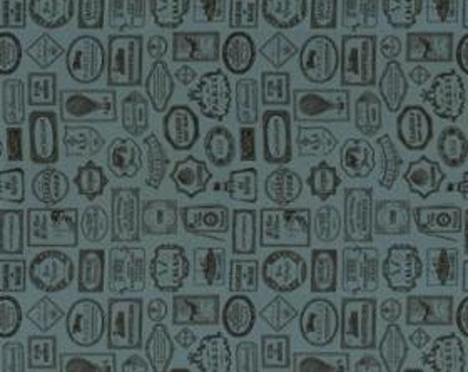 Bon Voyage - Labels Woad 1/2yd
