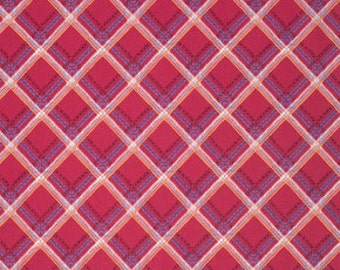 Feathered Check It Berry - 1yd