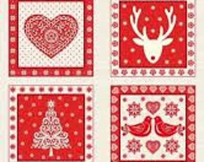 Skandi Christmas Red- Fabric Panel