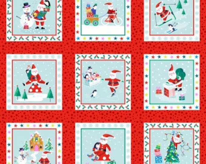 Jolly Santa Panel of Gift Tags 1955C - 1/2yd