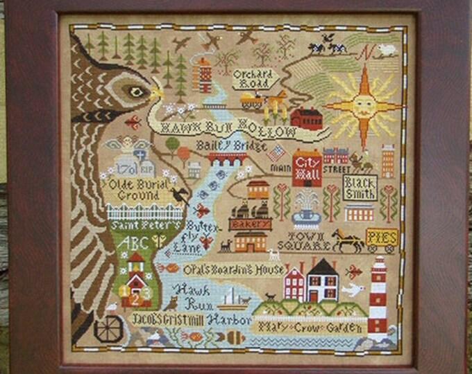 Map of Hawk Run Hollow - Carriage House Samplings - Cross Stitch Chart