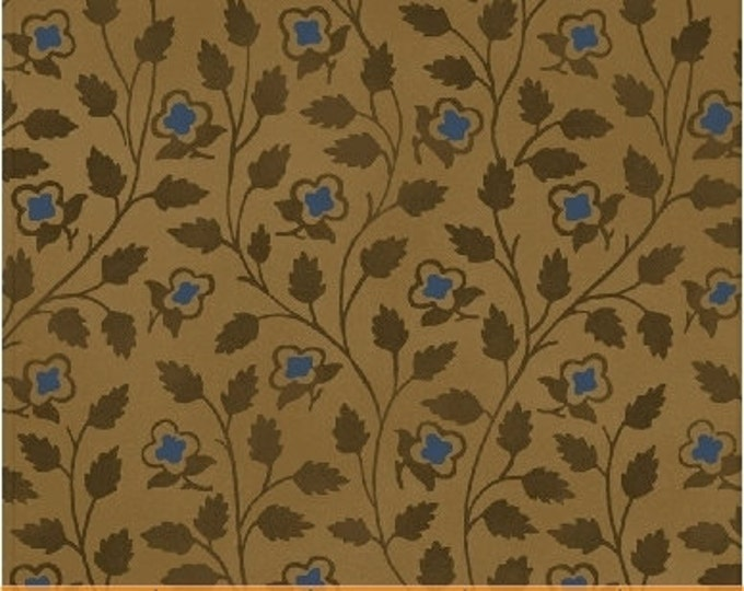 Tree of Life Allover Floral Blue Mustard - 1 yd