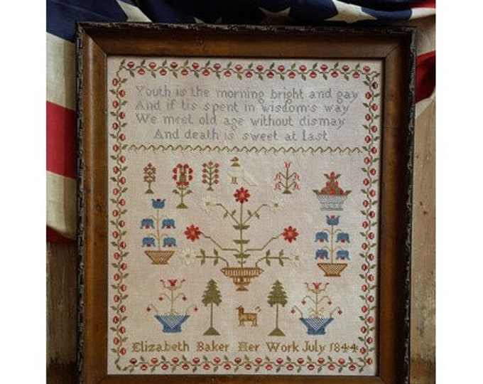 Elizabeth Baker 1844 - Pineberry Lane - Cross Stitch Chart