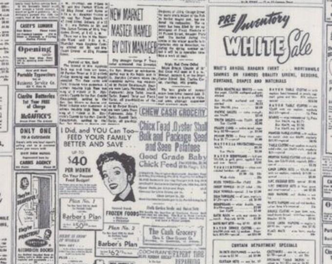 Modern BG Paper Newsprint Black Fog - 1/2yd