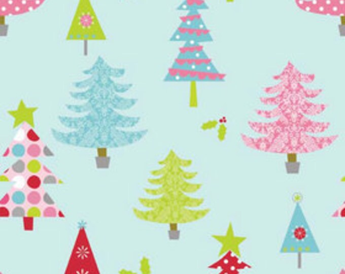 Christmas Trees - Blue - 1  yard