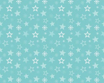 A Very Merry Christmas - Christmas Stars Aqua - 1 yard