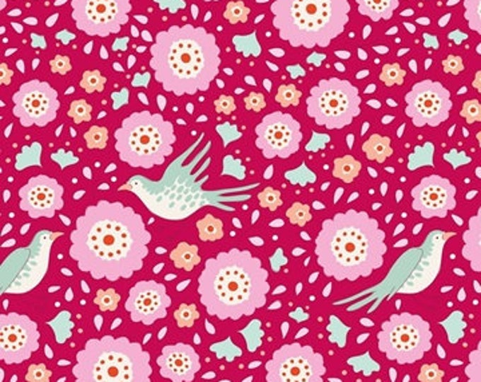 TILDA Bird Pond Lovebirds Raspberry 100106