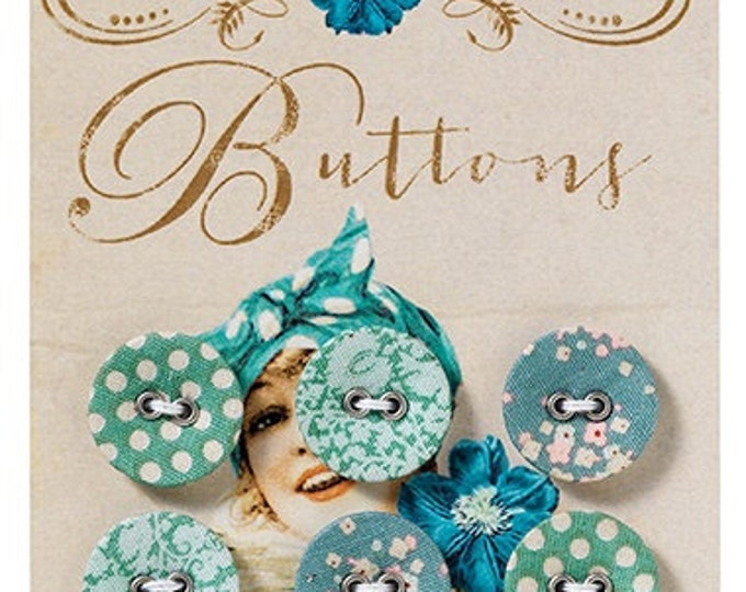 TILDA Spring Lake Fabric Covered Buttons - 17mm