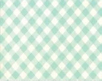 Bonnie and Camille Basics - Aqua White Gingham - 1/2yd