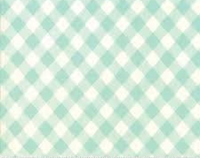 Bonnie and Camille Basics - Aqua White Gingham - 1/2yd