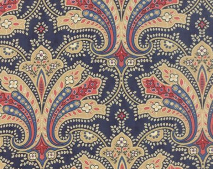 Polka Dots and Paisleys Flourish Deep Blue - 1/2yd